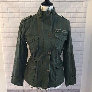 Forever 21 Olive green cargo utility jacket coat